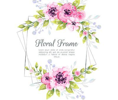 Vektörel çiçek desenli davetiye kart