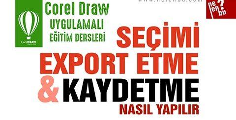 Sayfayı Kaydetme ve Export Etme - Corel Draw Dersleri